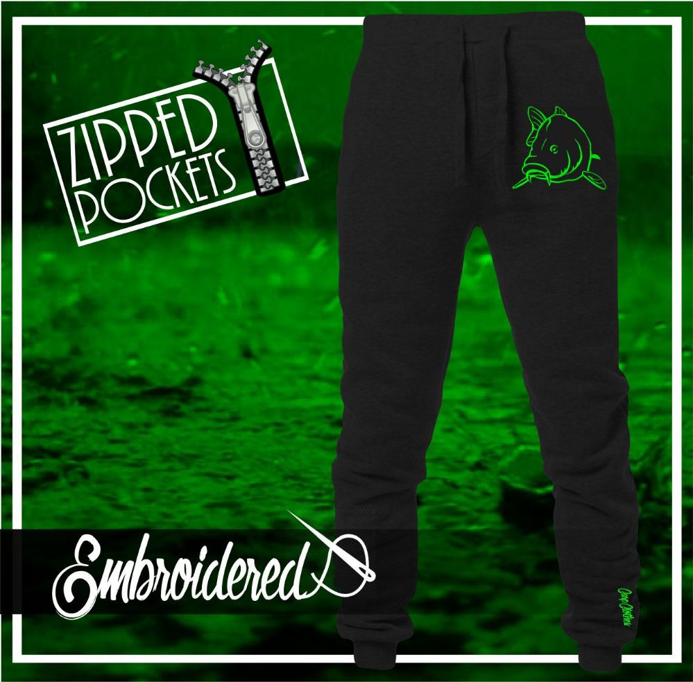 004 NEON EMBROIDERED JOGGERS BLACK